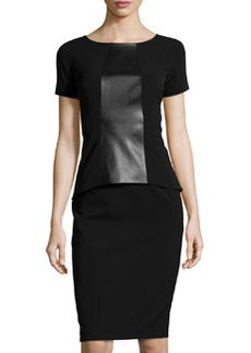 Lafayette 148 New York Short-Sleeve Faux-Leather Peplum Dress, Black