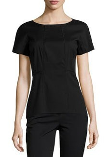 Lafayette 148 New York Short-Sleeve Fitted Blouse, Black