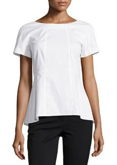 Lafayette 148 New York Short-Sleeve Fitted Blouse, White