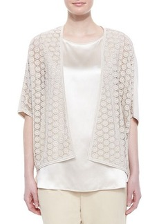 Lafayette 148 New York Short-Sleeve Lace Combo Cardigan