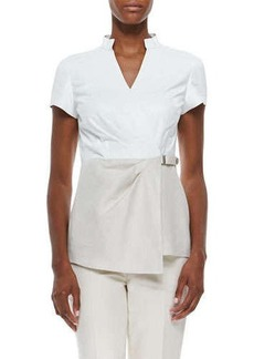 Lafayette 148 New York Short-Sleeve Linen and Leather Blouse