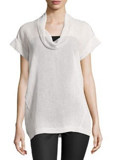 Lafayette 148 New York Short-Sleeve Linen Cowl-Neck Top, Oyster