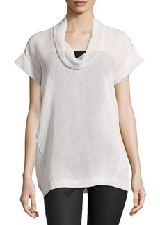 Lafayette 148 New York Short-Sleeve Linen Cowl-Neck Top