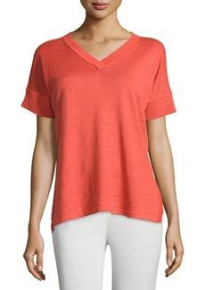 Lafayette 148 New York Short-Sleeve Linen Sweater