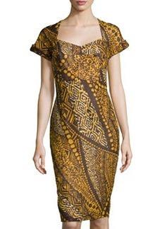 Lafayette 148 New York Short-Sleeve Multipattern Sheath Dress, Espresso