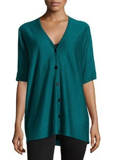 Lafayette 148 New York Short-Sleeve Oversized Linen Cardigan, Rainforest