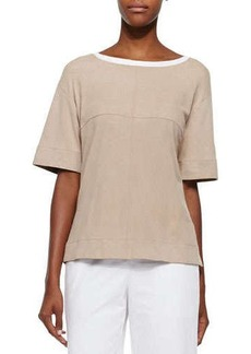 Lafayette 148 New York Short-Sleeve Perforated Suede Top
