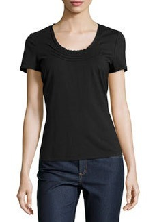 Lafayette 148 New York Short-Sleeve Pin-Tuck Tee, Black