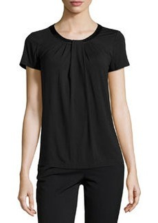 Lafayette 148 New York Short-Sleeve Pleated-Front Tee, Black