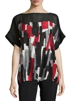 Lafayette 148 New York Short-Sleeve Printed Tunic, Black Multi