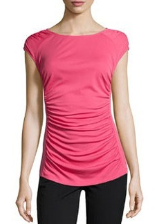Lafayette 148 New York Short-Sleeve Ruched-Front Top, Rosette