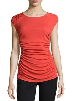 Lafayette 148 New York Short-Sleeve Ruched-Front Top, Salsa