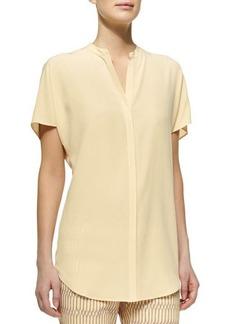 Lafayette 148 New York Short-Sleeve Sandwashed Silk Blouse, Cornsilk