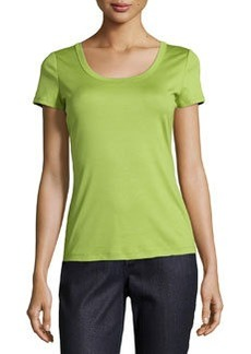 Lafayette 148 New York Short-Sleeve Scoop-Neck Tee, Bamboo