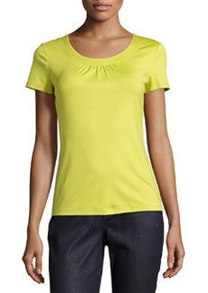 Lafayette 148 New York Short-Sleeve Scoop-Neck Top, Agave
