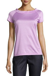 Lafayette 148 New York Short-Sleeve Skinny-Stripe Tee, Fuschia