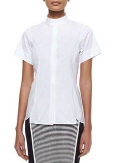 Lafayette 148 New York Short-Sleeve Stretch Cotton Shirt