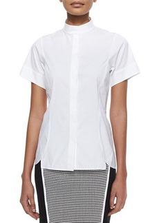 Lafayette 148 New York Short-Sleeve Stretch Cotton Shirt