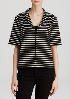Lafayette 148 New York Short Sleeve Stripe Jacket