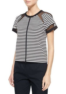 Lafayette 148 New York Short-Sleeve Striped Zip Front Top with Mesh
