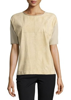 Lafayette 148 New York Short-Sleeve Suede-Front Sweater