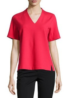 Lafayette 148 New York Short-Sleeve V-Neck Blouse, Dynamite