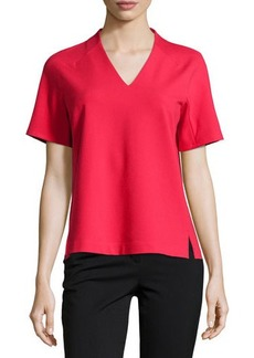 Lafayette 148 New York Short-Sleeve V-Neck Blouse
