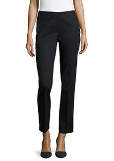 Lafayette 148 New York Side Ankle-Zip Cropped Pants, Black