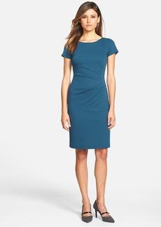 Lafayette 148 New York Side Pleat Cap Sleeve Ponte Knit Sheath Dress (Regular & Petite)