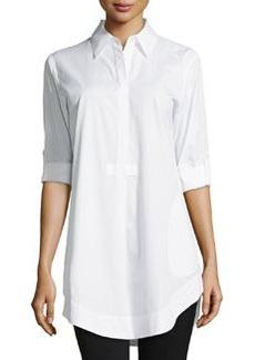 Lafayette 148 New York Side-Pocket Cotton Blouse, White