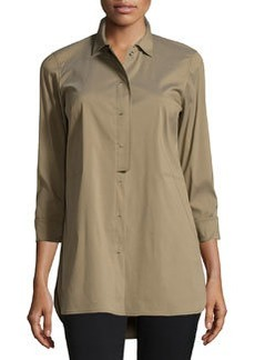 Lafayette 148 New York Side-Pocket Hidden-Placket Blouse, Fatigue
