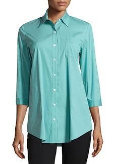 Lafayette 148 New York Side-Pocket Pleated Blouse, Turquoise