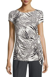 Lafayette 148 New York Side-Tie Animal-Print Top