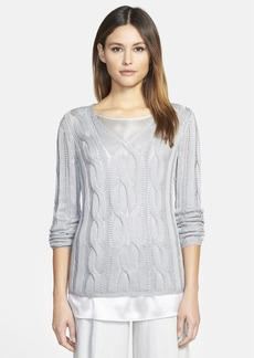 Lafayette 148 New York Silk & Cotton V-Neck Cable Sweater