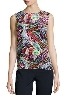 Lafayette 148 New York Silk Abstract-Print Tank Top, Black Multi