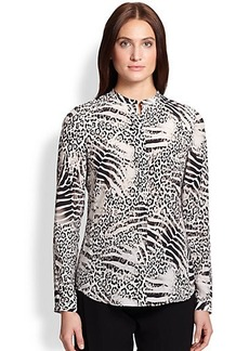 Lafayette 148 New York Silk Animal-Print Blouse