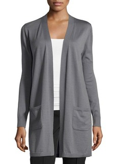 Lafayette 148 New York Silk-Back Drawstring Cardigan