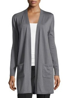 Lafayette 148 New York Silk-Back Drawstring Cardigan, Rock