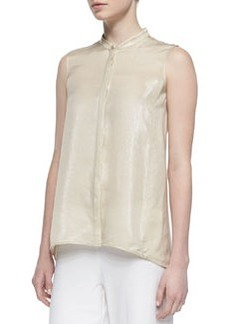 Lafayette 148 New York Silk-Blend Iridescent Sleeveless Blouse