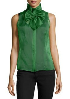 Lafayette 148 New York Silk Bow-Front Sleeveless Blouse, Green