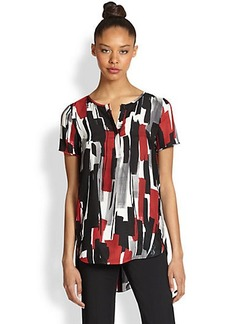 Lafayette 148 New York Silk Brushstroke Blouse