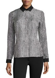 Lafayette 148 New York Silk Button-Down Front Blouse, Black Multi