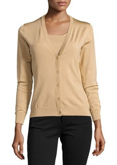 Lafayette 148 New York Silk Button-Front Cardigan