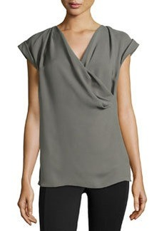 Lafayette 148 New York Silk Drape-Front Tee, Shale
