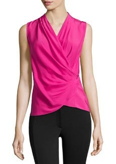 Lafayette 148 New York Silk Draped Blouse, Glam Pink