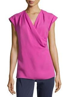 Lafayette 148 New York Silk Draped-Front Tee, Sakura Pink