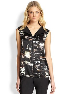 Lafayette 148 New York Silk Fierra Cityscape-Print Blouse