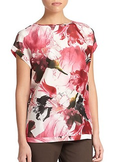 Lafayette 148 New York Silk Floral Blouse