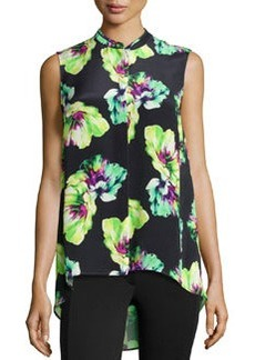 Lafayette 148 New York Silk Floral-Print Blouse, Black Multi