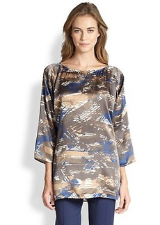 Lafayette 148 New York Silk Laney Printed Top